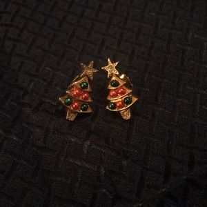 Avon Goldtone CZ and Pearl Christmas Tree Earrings